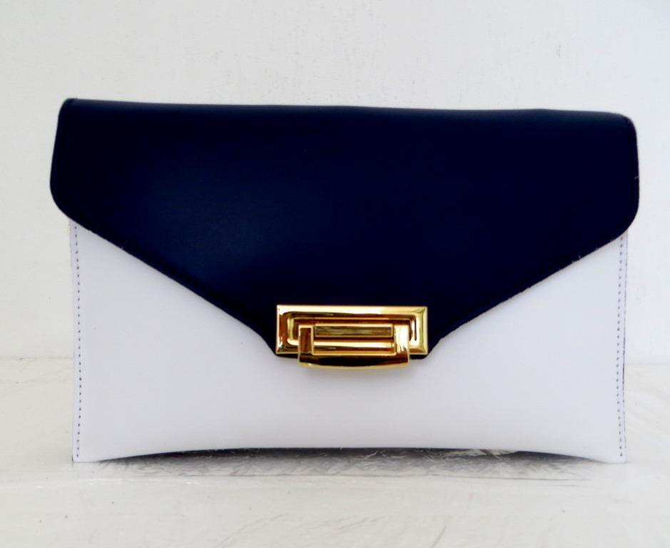 Стильная женская сумочка - клатч. 100% натуральная кожа! Италия Синий с белым