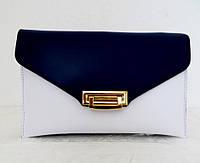 Стильная женская сумочка - клатч. 100% натуральная кожа! Италия Синий с белым, фото 1