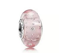 """Шарм бусина Pandora (Пандора) """"Муранское стекло Розовые пузырьки"""""""