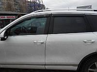 Дефлекторы окон (ветровики) Volkswagen Touareg 2010-> 4дв Хром молдинг, фото 1