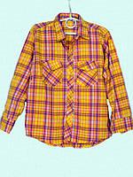 Рубашка в клетку для девочек 92-128 роста Оранж батист