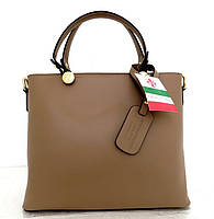 Удобная женская сумка 100% натуральная кожа. Бежевый