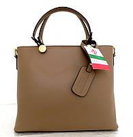 Удобная женская сумка 100% натуральная кожа. Бежевый, фото 1