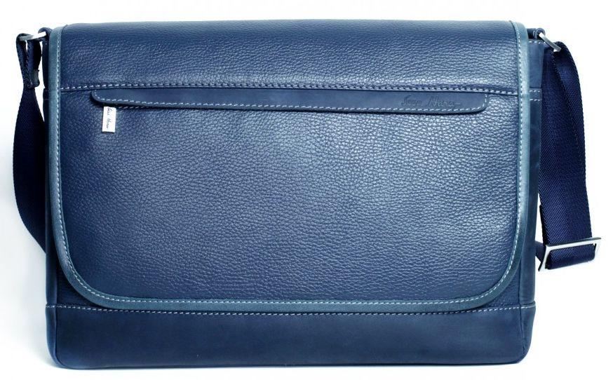 Кожаная сумка Месенджер через плечо ISSA HARA BM5 13-33 синий