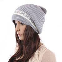 Женская серая шапка натуральная шерсть