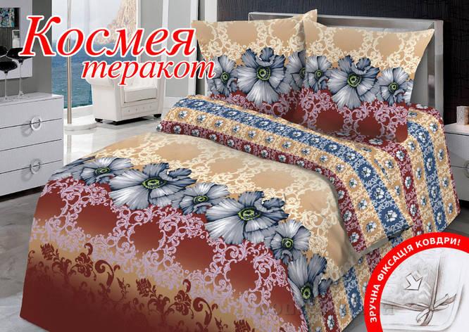 Комплект постельного белья Евро HomeLine Бязь 200х220 Космея теракот, фото 2