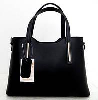 Удобная женская сумка 100% натуральная кожа. Черная с темно-серыми ручками, фото 1