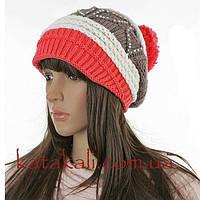 Женская вязаная шапка колпак