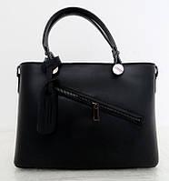 Удобная женская сумка 100% натуральная кожа. Черная, фото 1