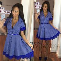 Женское платье хлопковое С синим кружевом