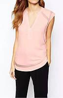 Нежная женская блузка пастельного розового цвета с коротким рукавом, фото 1