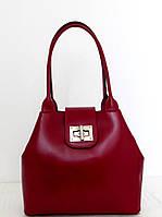Вместительная женская сумка 100% натуральная кожа. Красная