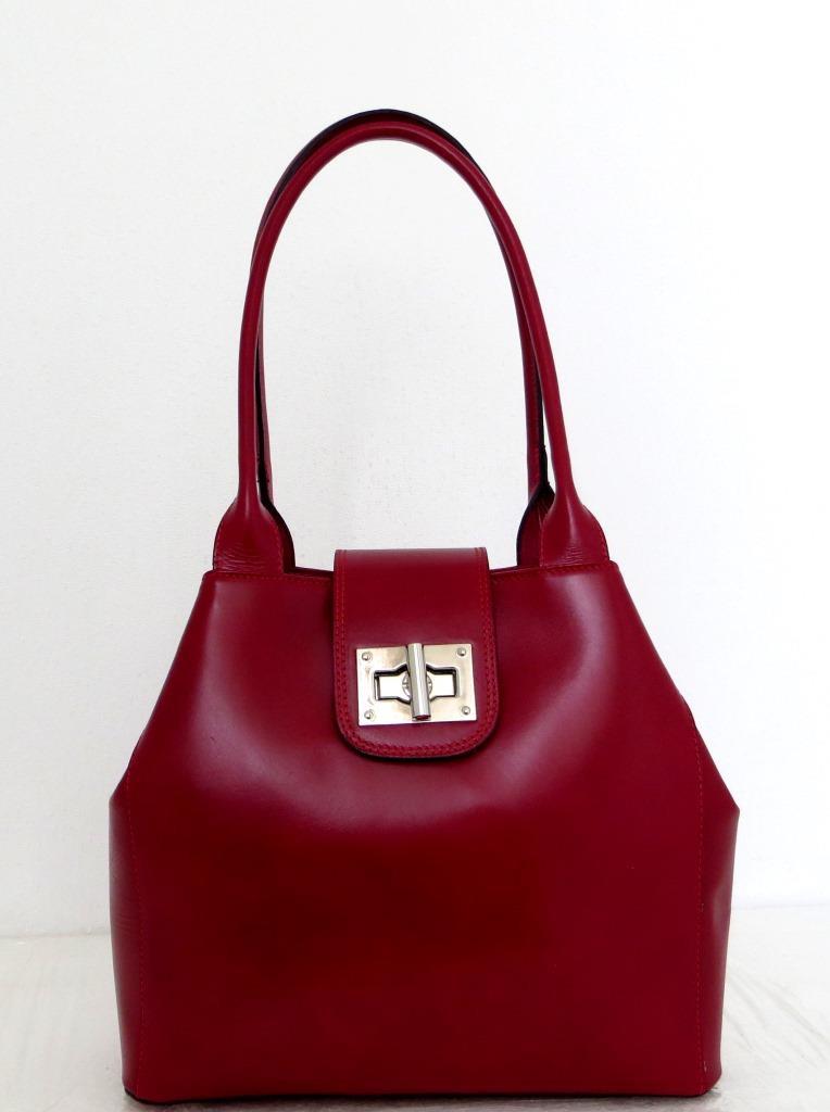 Вместительная женская сумка 100% натуральная кожа. Красная, фото 1