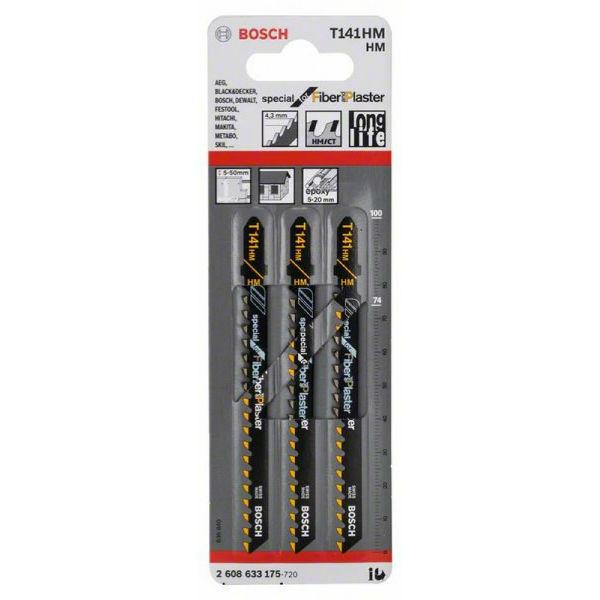 Пилки лобзиковые Bosch 3 шт Т 141 HM, HM