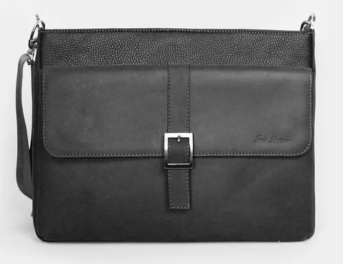 Современная кожаная сумка-месенджер через плечо ISSA HARA B17 (11-31) черная