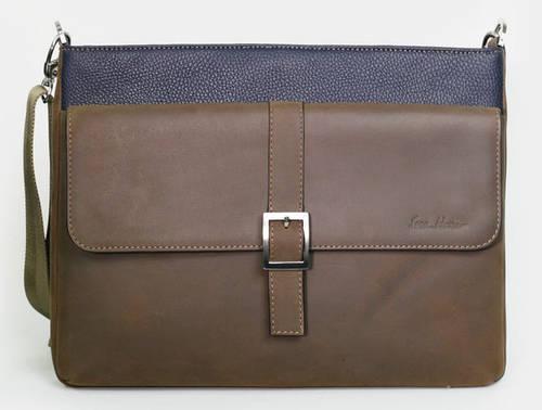 Кожаная сумка-месенджер через плечо ISSA HARA B17 (13-32) коричневый