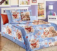 """Комплект постельного белья детский, полуторный,  бязь ГОСТ, """"Плюшевые мишки голубой"""""""