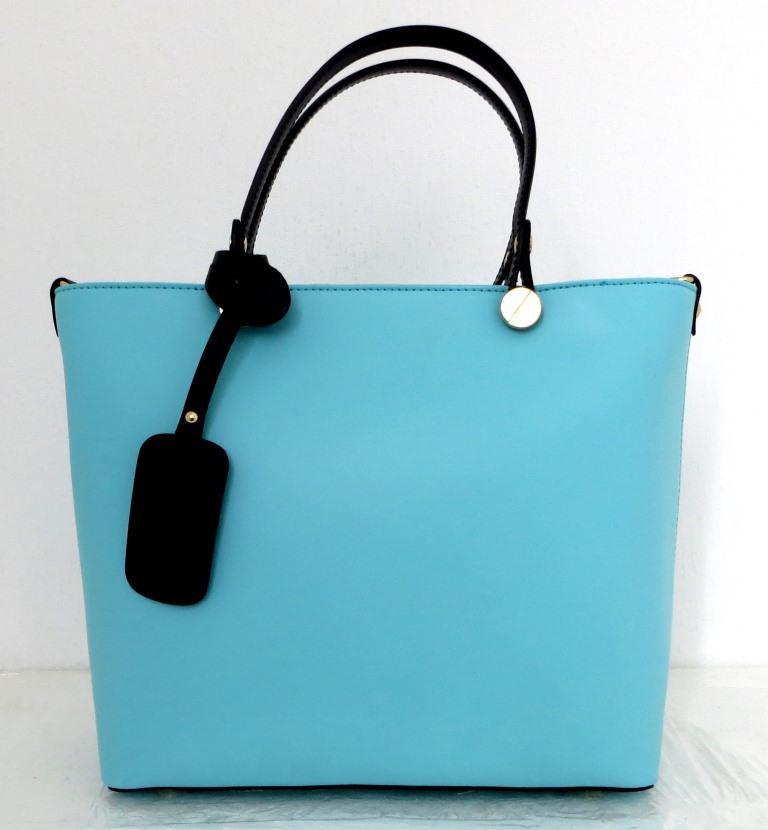 Вместительная женская сумка 100% натуральная кожа. Бирюзовая