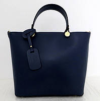 Вместительная женская сумка 100% натуральная кожа. Синяя, фото 1