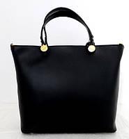 Вместительная женская сумка 100% натуральная кожа. Черная, фото 1