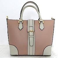 Вместительная женская сумка 100% натуральная кожа. Бежевая с вставками