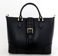 Вместительная женская сумка 100% натуральная кожа. Черная