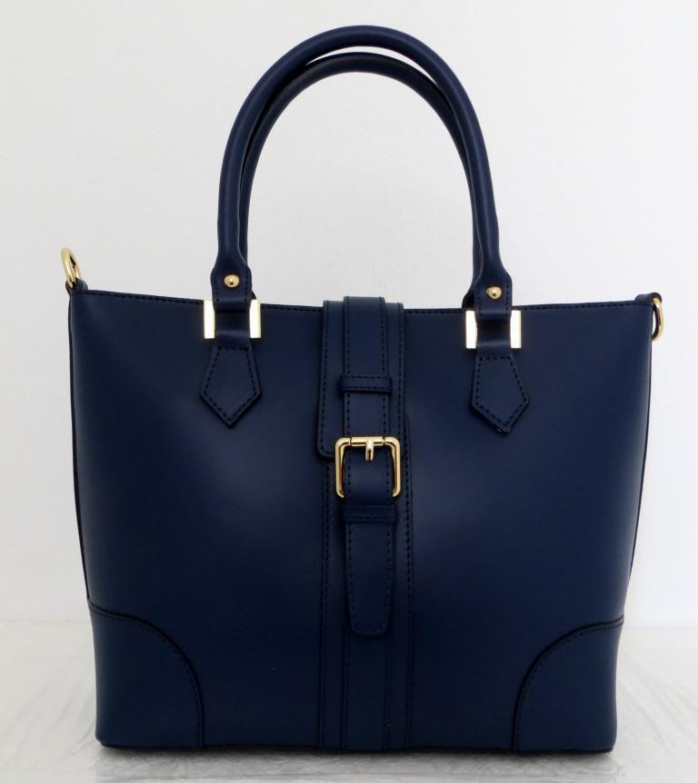 Вместительная женская сумка 100% натуральная кожа. Синяя