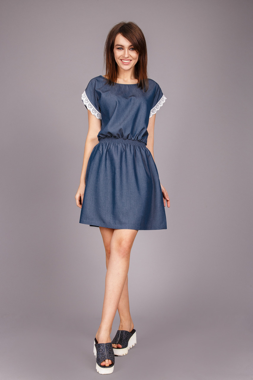 летнее джинсовое платье