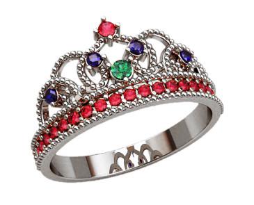Кольцо  женское серебряное Корона 20874
