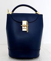 Стильная женская сумка - рюкзак 100% натуральная кожа. Синяя