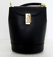 Стильная женская сумка - рюкзак 100% натуральная кожа. Черная, фото 1