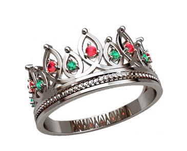 Кольцо  женское серебряное Корона 20872