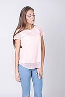 Ажурная розовая футболка, фото 1