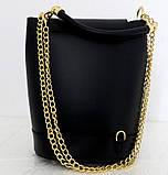 Стильная женская сумка - рюкзак 100% натуральная кожа. Черная, фото 5