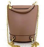 Стильная женская сумка - рюкзак 100% натуральная кожа. Бежевая, фото 3
