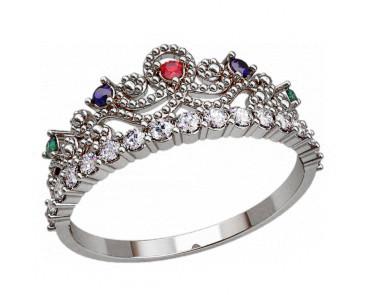Кольцо  женское серебряное Корона 20878
