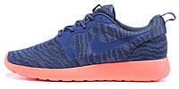 Женские кроссовки Nike Roshe Run Kjcrd Blue/Pink, найк роше ран