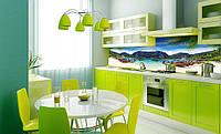 Стеклянная кухонная панель под заказ. Доступные цены. Горы и пляж. Фото на выбор. Дизайнерская работа. Днепр