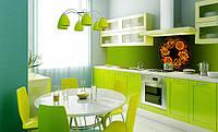 Стеклянный кухонный фартук с Петриковкой