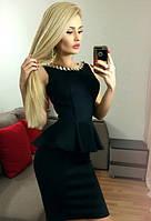 Платье с баской. Украшение цепь. Цвета 257 Аванта 2410