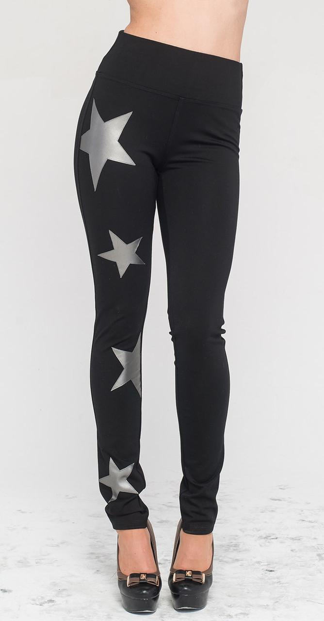Леггинсы с серыми звездами черные