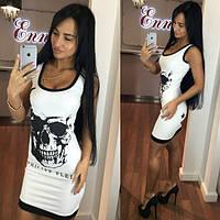 Облегающее платье мини с черепом. Цвета 115 Роланда 5040