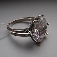 Серебряный женский перстень с огромным прозрачным фианитом