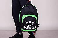 Стильный рюкзак спортивный\городской Adidas (черный+салатовый)