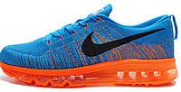 Мужские кроссовки Nike Flyknit Air Max 2015 Orange/Blue, найк, аир макс