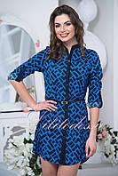 Синее платье-рубашка с поясом