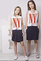 Детская  летняя туника  (платье) Нью Йорк для девочки двухцветное Овен Украина