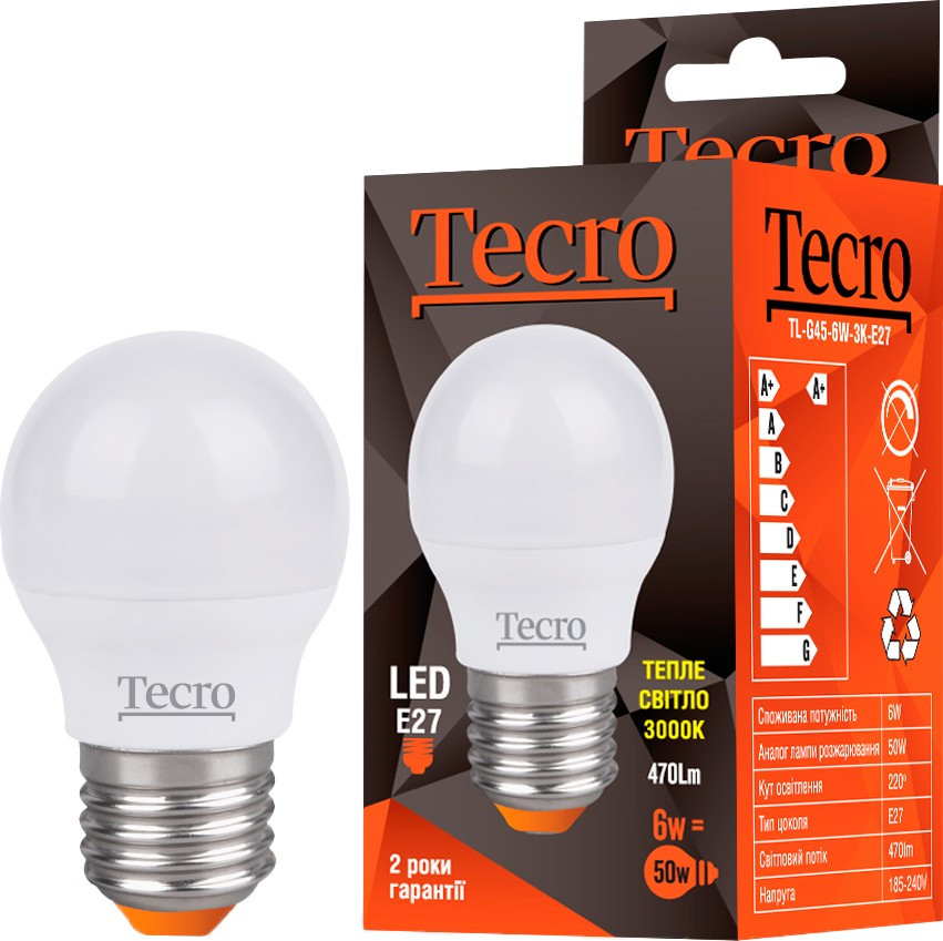 Led лампочка Tecro TL-G45-6W-3K-E27