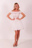 Женское белое гипюровое платье с шифоновым подюпником ZEAN 5427