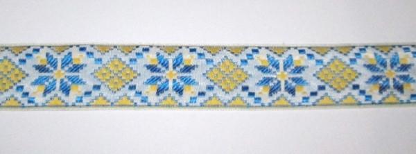 Лента вышиванка Узоры 3 см, желто-синяя
